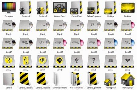Grey & yellow icons