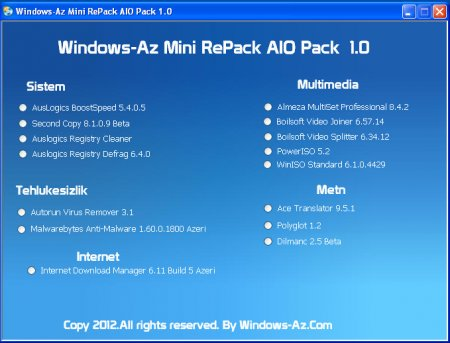 Windows-Az Mini RePack AIO Pack 1.0