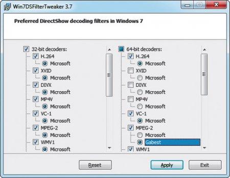 Preferred Filter Tweaker for Windows 7 and 8